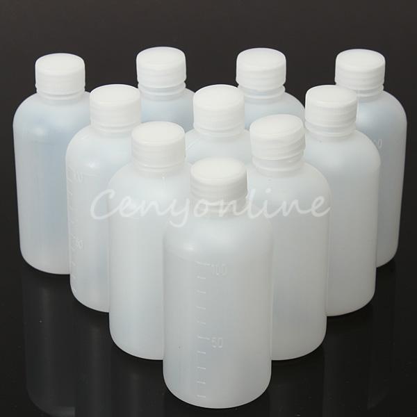 10pcs/lot Chemical Seal Bottle Vial Reagent Container Plastic Lid Grade 100ml Plastic Seal Bottle Vial Reagent Container(China (Mainland))