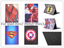 Spider Back Case For iPad mini Hot 3D Cartoon Superman Spider man Batman Flip Stand Leather Smart Case Cover For iPad mini 1/2/3(China (Mainland))