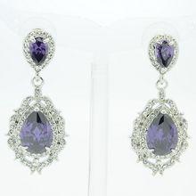 Vogue Purple Teardrop Zircon Rhinestone Crystals Dangle Flower Pierced Earring 20671(China (Mainland))