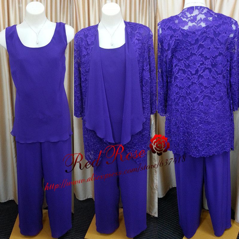 New purple chiffon mother of the bride dress pant suits for Dress pant suits for weddings