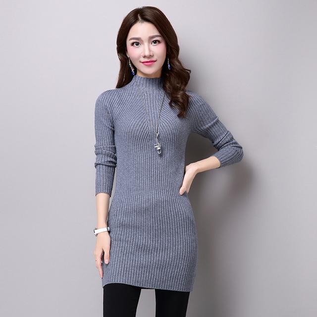 Новинка длинный свитер платье женщины мода пуловеры перемычка сексуальная водолазка ...