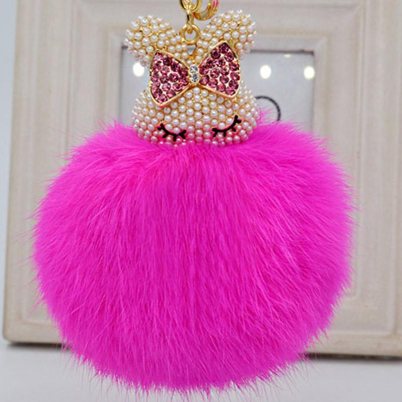 Bag Pendant Car Ornament Rabbit Fur Plush Ball Key Ring Rhinestone Simulated Pearl Lovely Rabbit Pompom Ball Key Chain For Women(China (Mainland))