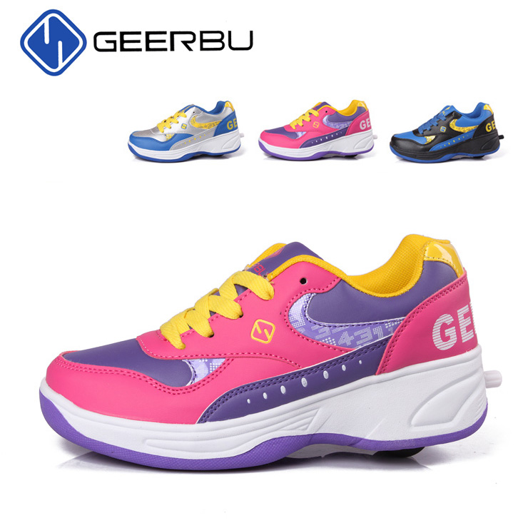 Children Shoes Fashion Kids Sneakers PU Child One Wheel Roller Boy Girls Automatic Skates - jindoudou store