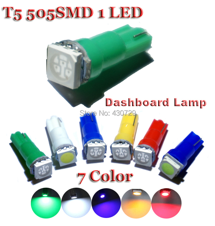 100pcs/lot T5 1 LED SMD 5050 Dashboard Wedge Car Light Bulb Lamp Wholesale new arrive White red blue yellow green Pink(China (Mainland))