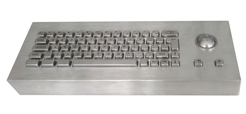 63 Keys Industrial Desktop Keyboard Dust-proof Stainless Steel built-in mechanical key-switches integrated optical trackball(China (Mainland))