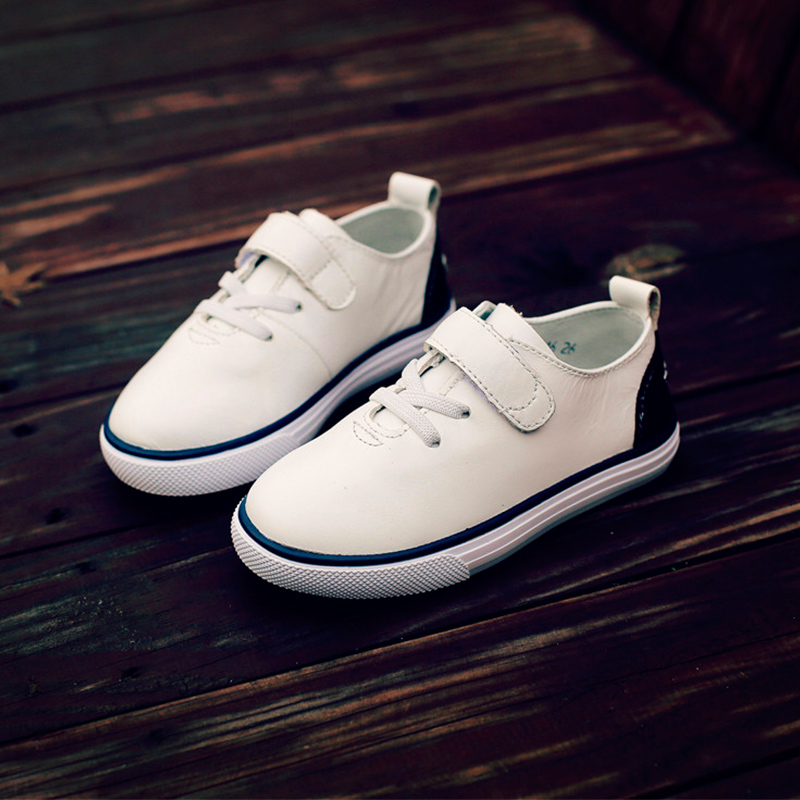 Spring Solid Color Vintage Velcro Childrens Fashion Sneakers Breathable Light Weight Slip-on Boys Girls Soft Leather Sneakers<br><br>Aliexpress