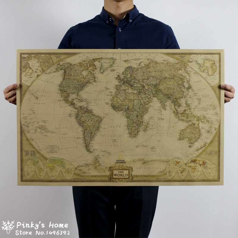 100x66cm Vintage World Map Travel Home Decoration Detailed Antique Poster Wall Chart Retro Paper Matte Kraft Paper Map World(China (Mainland))