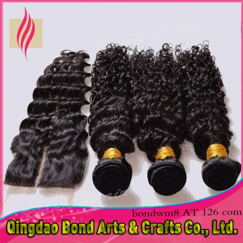 Free Shipping! 5A Deep Wave Brazilian Virgin Hair Weft and Closure, Unprocessed Curly Brazilian Hair Top Closure with 3 Bundles<br><br>Aliexpress