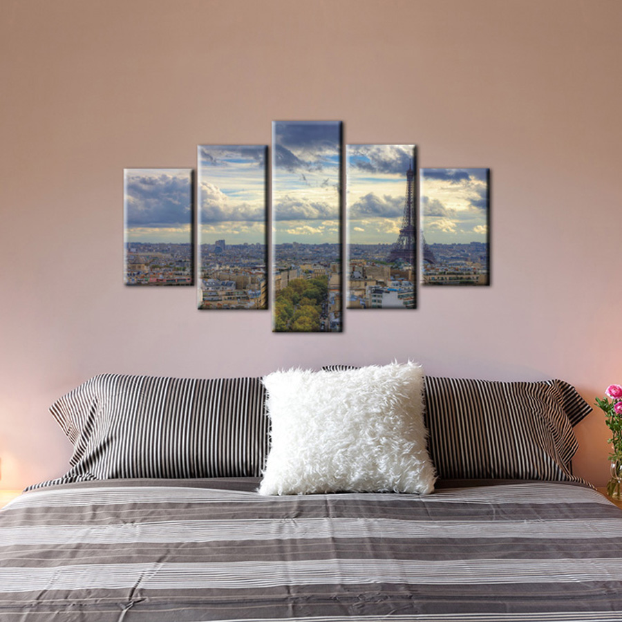 5 piece canvas wall art decorative cheap prints picture modern abstract canvas bedroom artwork. Black Bedroom Furniture Sets. Home Design Ideas