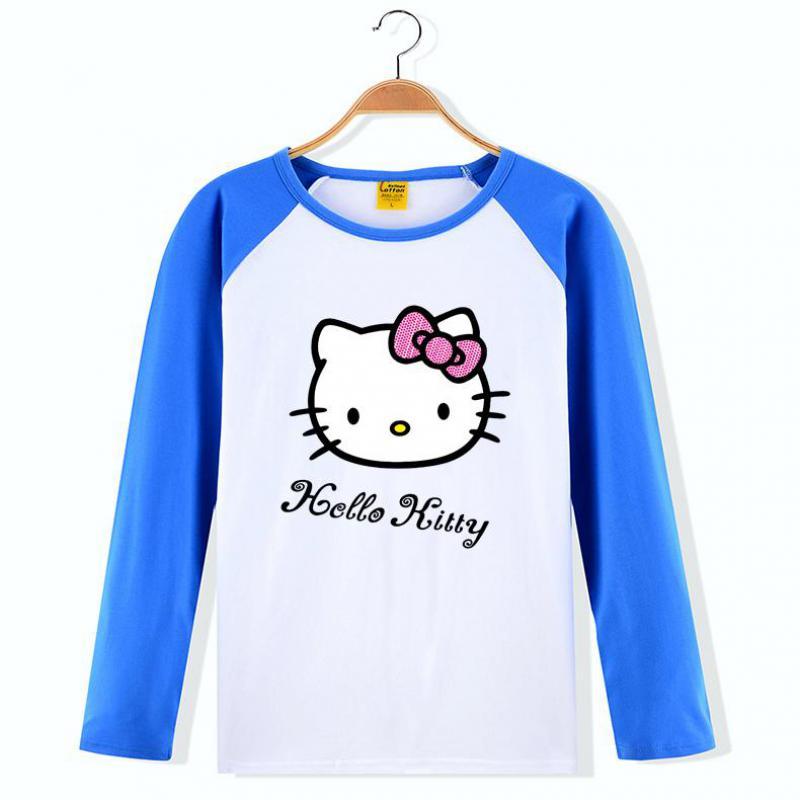 Teenagers Girls Cartoon T-shirt Hello Kitty Long Sleeve Tees Children Kids T Shirt Spring Autumn Children Clothing Kids Clothes(China (Mainland))