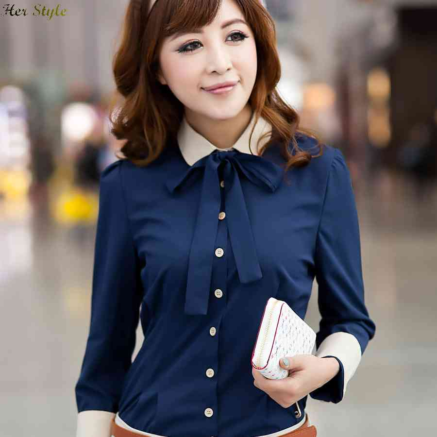 Free Shipping really making a spring 2015 new bow womens long sleeve shirts tie 1434345209(China (Mainland))
