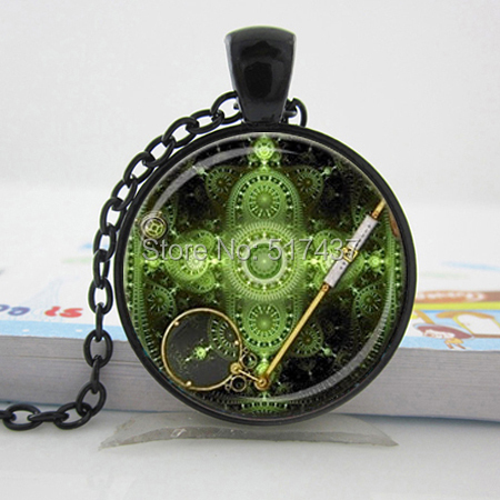 Steampunk Pendant Green Brass Black Steampunk Jewelry Steampunk Necklace Geek Fractal Pendant Fractal, Glass Dome Cabochon(China (Mainland))
