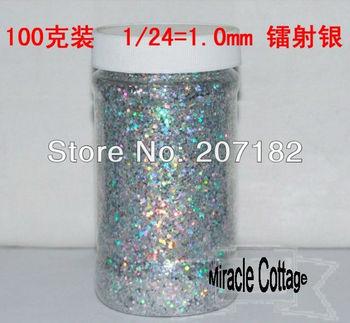 Free shpping! (6pcs/lot) best sell 1/24=1.0mm laser silver polycrystalline powder,laser powder,flash powder,glitter powder