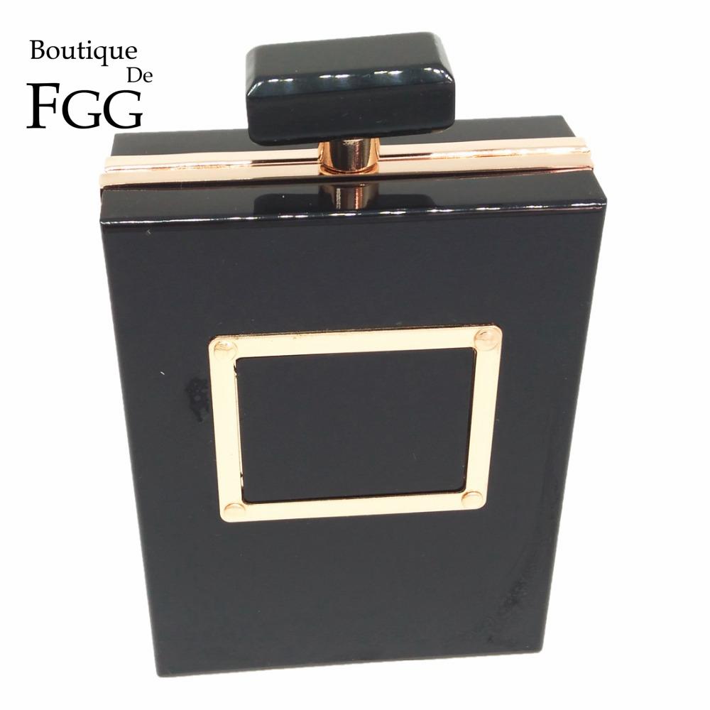 Women Brand Perfume Bottle Evening Black Acrylic Box Clutch Shoulder Bag Hardware Metal Clutches Purse Wedding Party Handbags(China (Mainland))
