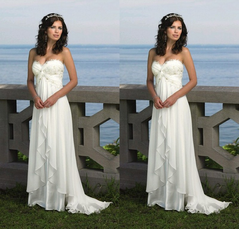 2015 Chiffon Beach Wedding Dresses Cheap A Line Maternity