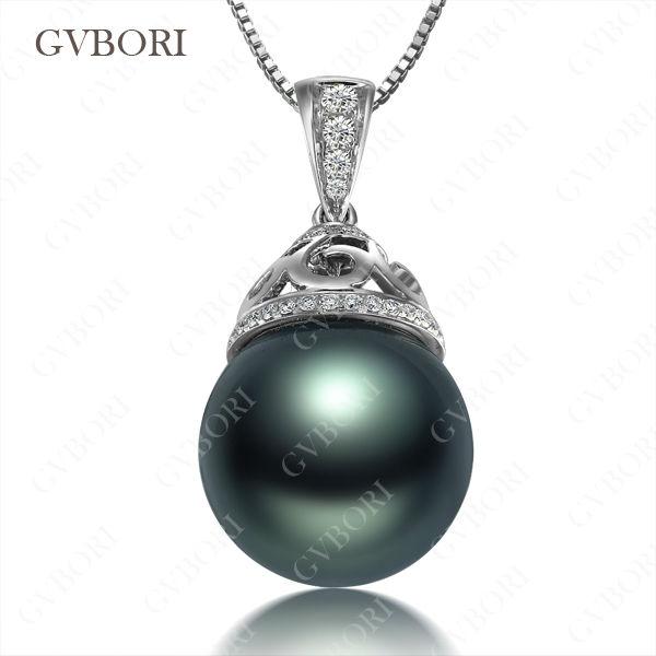 GVBORI Tahiti Black Pearls&amp;Diamond Pendant 925 Sterling Silver Chain Necklace For Women Classic Style Fine Jewelry Free Shipping<br><br>Aliexpress