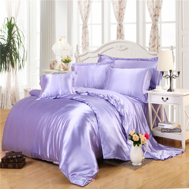 2016 HOT style! pure color 100% real silk bedding sets Queen Double size Linenes reactive printing Quilt cover set(China (Mainland))