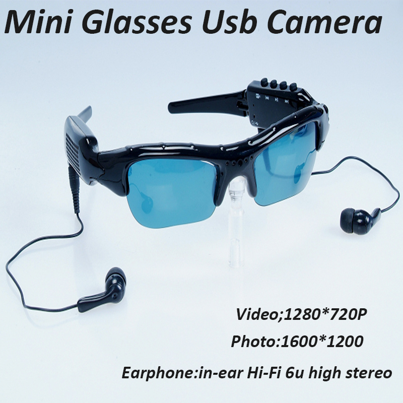 Mini Glasses Usb Camera With Full HD 720P / Sport Sunglass Camera With MP3 DV Bluetooth Support SD / TF Card(China (Mainland))