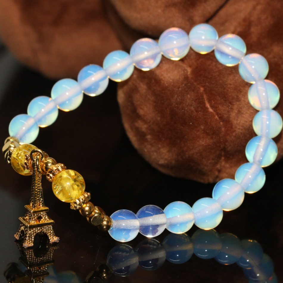 New Fashion Paris Tower Pendant Charms White Opal Moonstone Round Original  Design Bracelets 8mm Beads Jewelry
