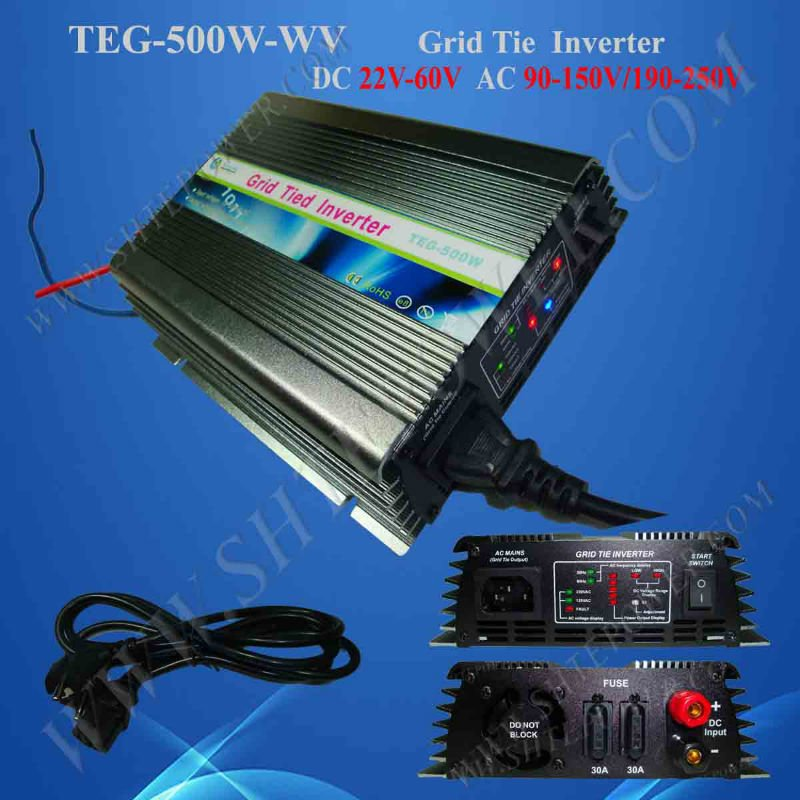 on grid tie micro solar inverter 500W Power Inverter for Solar Panel On Grid System, DC 22V-60V to AC 190V-260V High Quality(China (Mainland))