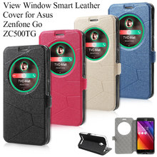 Smart Wake/Sleep Bag for Asus Zenfone Go (5.0 inch) ZC500TG, Quick Circle View Window Smart Leather Phone Case Back Cover Shell(China (Mainland))