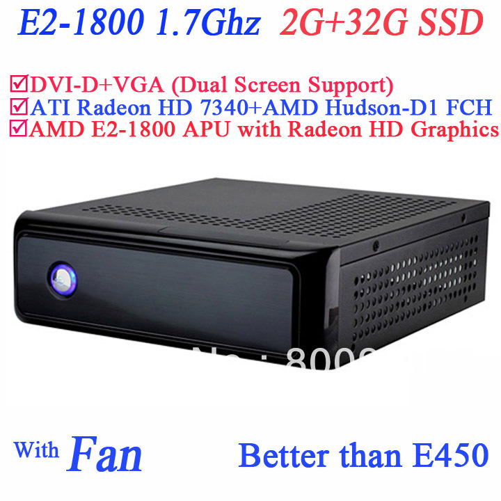 AMD E2 1800 1.7Ghz multimedia POS mini pc with ATI Radeon HD 7340 512MB AMD Hudson-D1 FCH Chipset SECC chassis 2G RAM 32G SSD(China (Mainland))