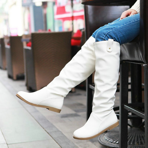 Knight Boots for Women 2015 Round toe Buckle Strap Flat Heel Knee High Boots Autumn Winter Boots Snow Boots Shoes Woman