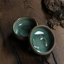 Glaze tea cups Celadon Ceramic Tea Cup 2 fishes Chinse Kung Fu cup/ Binglie glaze / small bowl 60 ml - EM-HOME GROCERY store