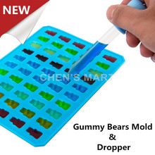 NEW ARRIVAL 1 pc Gummy Bear Shape Silicone Mould With Dropper Candy Sugar Chocolate Mold Ice Cube Tray Fondant Cake Decorating(China (Mainland))