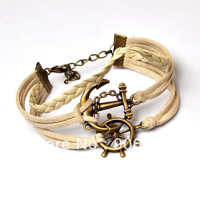Retro Punk Style Leather Bracelet Antique Bronze Anchor and Rudder Charm