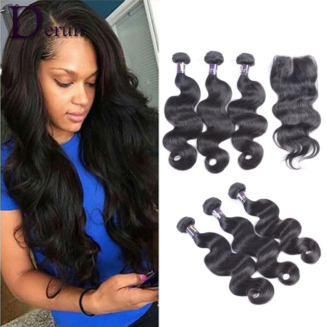 Peruvian Virgin Hair With Closure 3 Bundles Body Wave with Top Lace Closure Unprocessed Human Hair Peruvian Body Wave Extensions