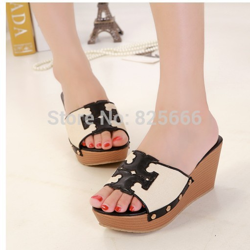 Free shipping 2015 new platform sandals metal logo brand women sandals open toe summer wedge sandals women shoes big size 40 41(China (Mainland))