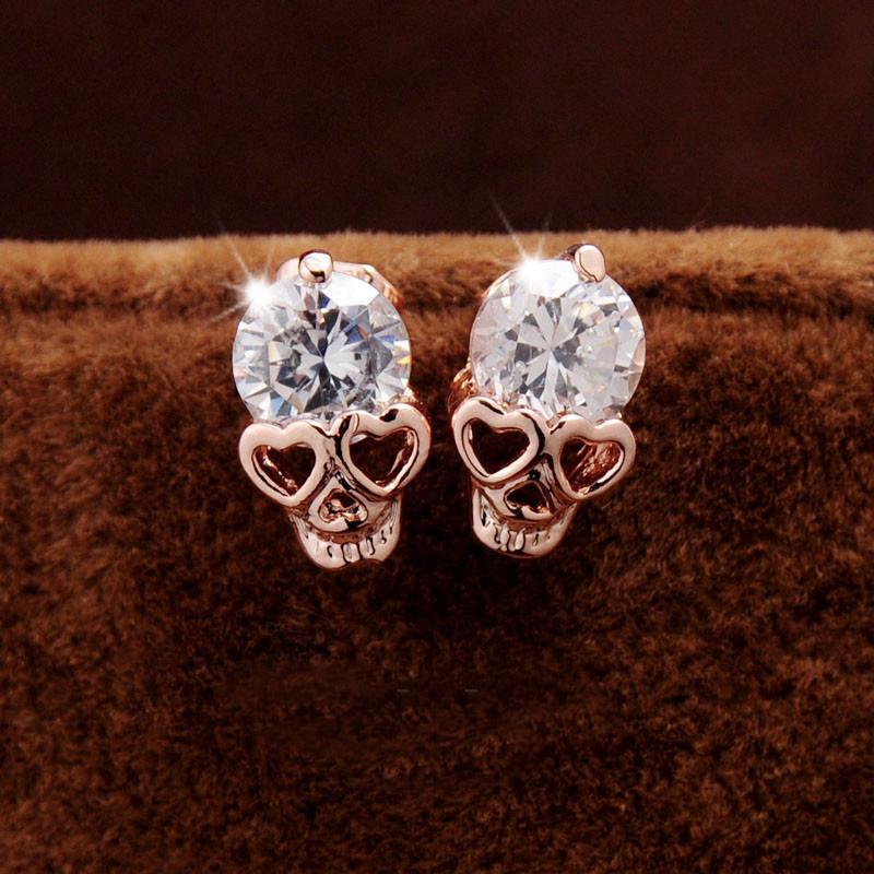 2016 New Fashion Vintage Stud Earrings CZ Diamond 18K Gold Plated Skull Stud Earrings Woman Jewelry Gifts(China (Mainland))
