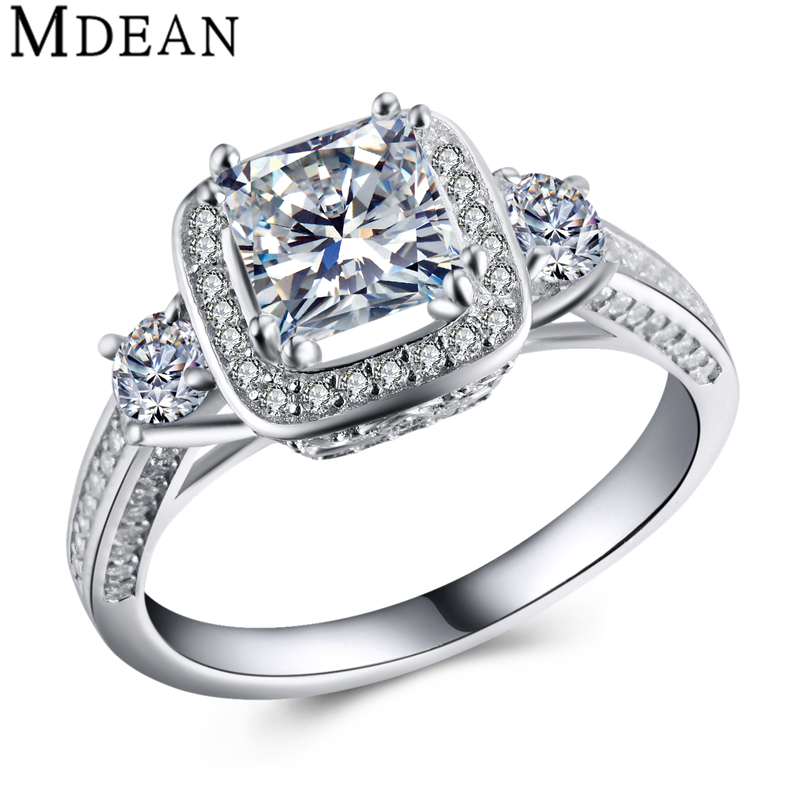 Square Genuine Pure 925 Sterling Silver Jewelry 5 Gram Solid CZ Diamond Bague Engagement Rings for Women Bijoux Femme MSR455(China (Mainland))