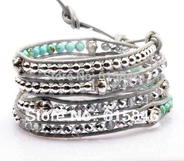 Aliexpress HOT SELL Hand Wrap Leather Bracelets, Wholesale Turquoise Crystal & Buddha Beads Leather Wrap Bracelets Jewelry CL052(China (Mainland))