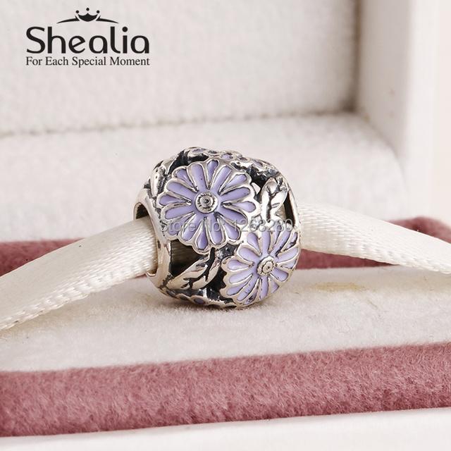 Shealia ювелирные изделия весна коллекция 925 чистое серебро маргаритка подвески-талисманы с лаванда эмаль подходит браслеты SH0603