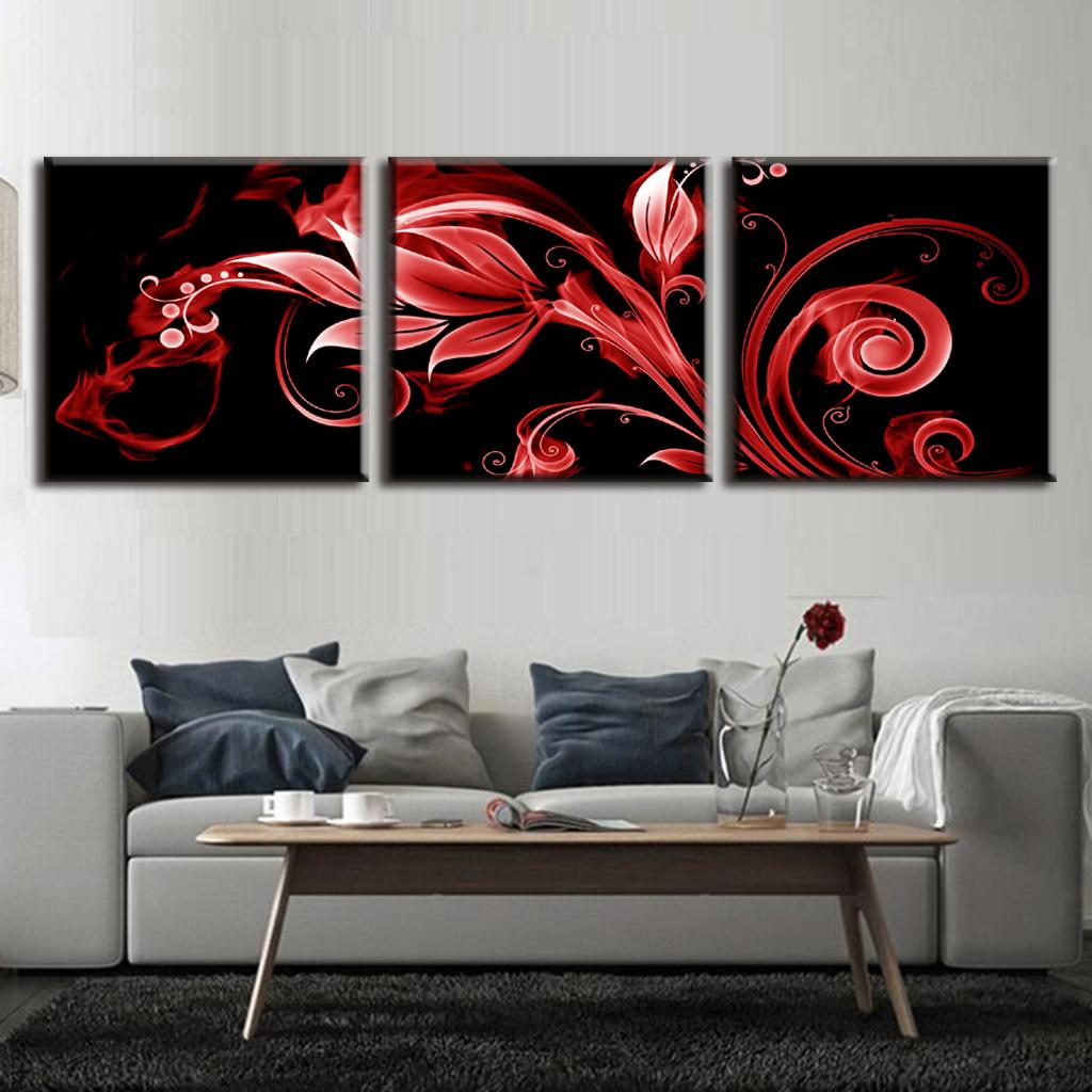 3 Pcs/set Abstract Red Flame Pattern Vertical Wall Art Red Flower in Black Prints Canvas Wall Picture Home Decoration(China (Mainland))