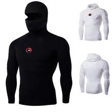 Uomini ninja t shirt a manica lunga con maschera divertente compressione elastica camicia mens harajuku hoodies casuali tee shirts fitness crossfit(China (Mainland))