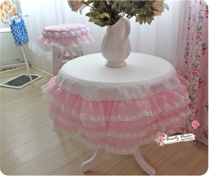 BD table cloth luxury pink 6 layers cake lace custom round table cover tablecloth Bride warn wedding home textile(China (Mainland))
