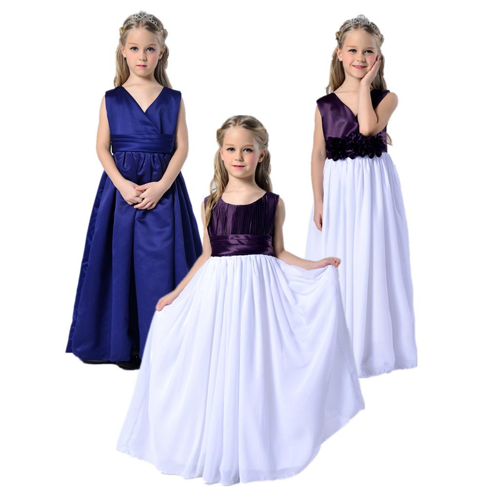 Age 9 10 11 12 years Children girls graduation dresses long floor length teen formal wear party wedding costume purple white(China (Mainland))