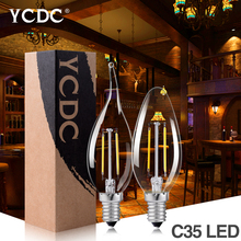 Buy YCDC Antique Retro Vintage LED Edison Bulb C35 LED Bulb E14 Filament Light AC110/220V Glass Bulb 4/8W Candle/Flame Light Lamp for $16.92 in AliExpress store