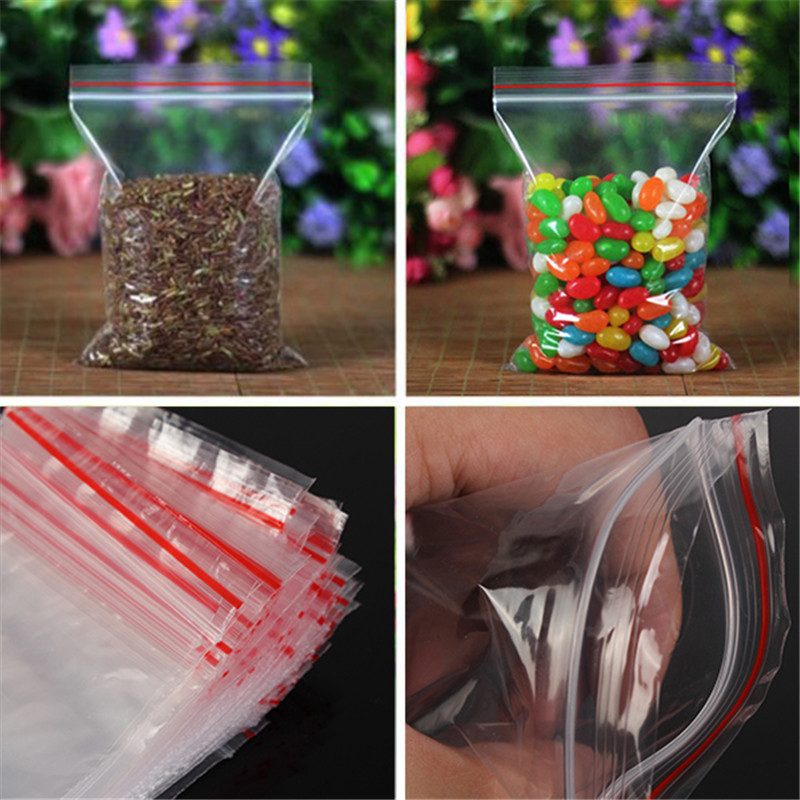 100pcs Clear Bag Plastic Baggy Grip Self Seal Resealable Reclosable Zip Lock Bag For Home Sundries Storages(China (Mainland))