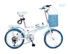 Outdoor sporting bicycle folding bike speed change mini bike blue women on sales