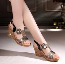 The new sandals in the summer of 2015 Diamond Roman sandals High wedge sandals with thick soles waterproof(China (Mainland))
