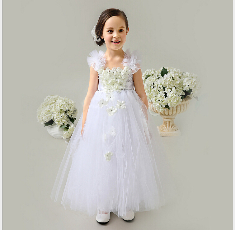New Arrival 2015 Hand Made White Tulle Tutu Pretty Flower Girl Dresses Cheap Junior Bridesmaid Dress Baby Girl Birthday Dress(China (Mainland))