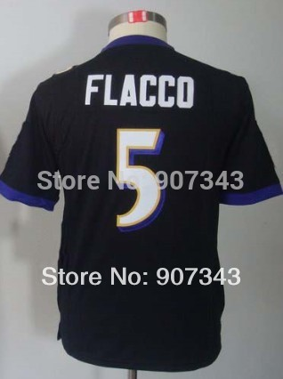 Baltimore #5 Joe Flacco Jersey Youth American Football Jersey Embroidered Stitched Logo Kids Authentic Sports Jerseys(China (Mainland))
