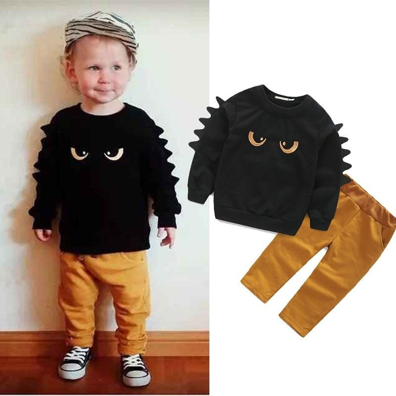 Autumn Winter Baby Boy Cute Clothing 2015 2pc Pullover Sweatshirt Top + Pant Clothes Set Baby Toddler Boy Outfit Suit(China (Mainland))