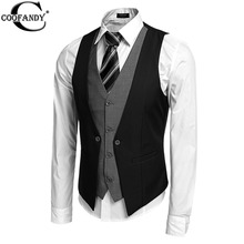 COOFANDY  Autumn Men's Waistcoat Causal Slim Sleeveless Formal Coat Business Suit Vest Wine Red/Black/Blue S-XXL(China (Mainland))