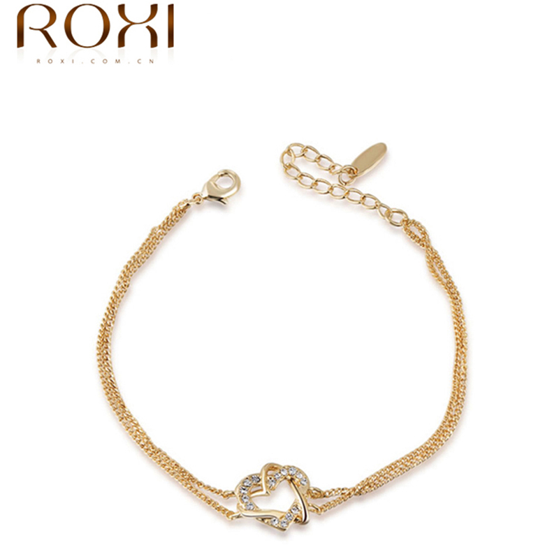 Best-selling Austrian Crystal Gold Double Heart Winding Bracelets ELEMENT Austrian Crystal Bangles Free Shipping 2060012355(China (Mainland))