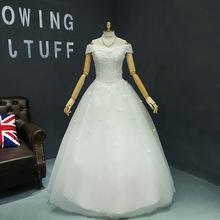 Buy Wedding Dress 2017 New Bride Short Sleeve Elegant Boat Neck Classic Flowers Floor-length Ball Gown Princess Vestido De Novia for $80.10 in AliExpress store